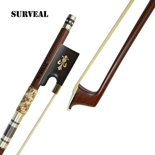 Surveal - Archetto professionale per violino, con pelle di serpente e legno di pernambuco intarsiato, suono caldo 4/4