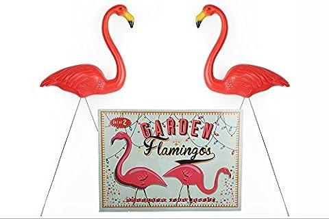 Set of 2 Vintage Retro Plastic Garden Flamingo Ornaments.