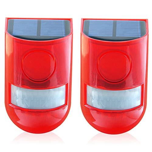 Solar-Sicherheitsleuchte Alarm IP65 Wasserdicht LED Bewegungsmelder Blinklicht Lampe 110 dB Laute Sirene Sicherheits-Alarmanlage für Zuhause, Bauernhof, Geschäft, Garten, Villa, Wie abgebildet, 2 pcs -
