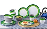 Berger Melamin Geschirrset Greenline 16 teilig, grün grau weiß, bruchunempfindlich, 4 Henkelbecher, 4 Dessertteller, 4 Essteller, 4 Müslischalen