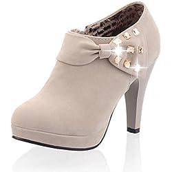 Minetom Damen Klassisch Vintage Schuhe Pumps High Heels Ankle Boots Brautschuhe Party mit Schleife Strass Grau EU 41