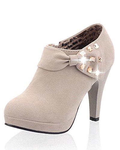 Minetom Mujer Botines Otoño Invierno Botas Del Bowknot Zapatos De Las Bombas Tacón Desnudo Delgado boots Gris EU 38