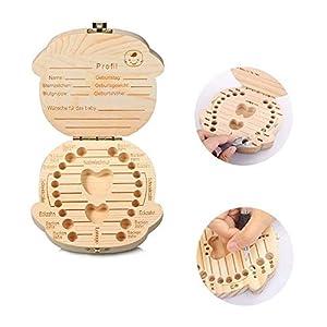 HKFV Holz Baby Zahn Box Zähne Organizer Aufbewahrungsbox für laubabwerfende Milch Zähne mit Zähne Informationen Record