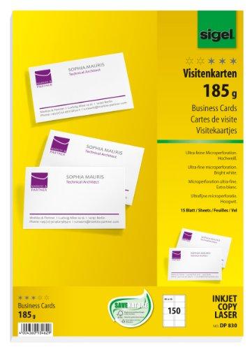 Sigel dp830 biglietti da visita, microperforati, bianco, 85x55 mm (a4), 185 g, 150 pz.=15 fg.