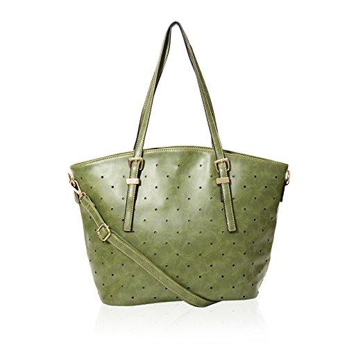 Frauen Designer Style-Einkaufstasche-Leder Beschlagene Damen Schultertasche Grun