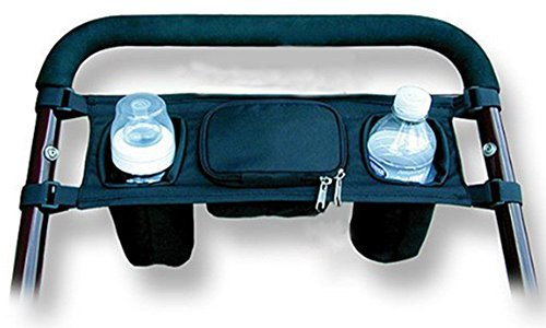 BREADEEP UNIVERSAL BABY STROLLER ORGANIZER BAG WITH TWO CUP HOLDER POCKETS PUSHCHAIR SAFE CONSOLE TRAY HANGING STORAGE POUCH BY BREADEEP