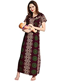 AV2 Women Printed Feeding/Nursing/Maternity Nighty 1183