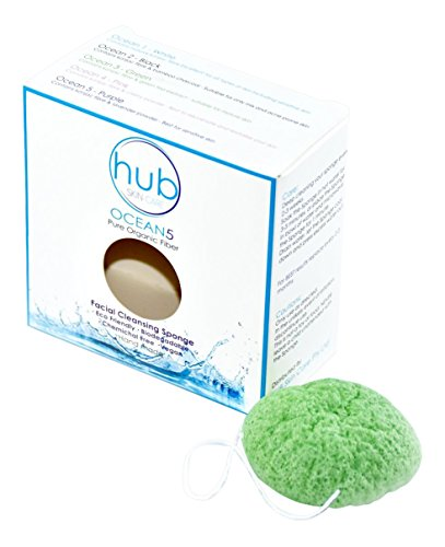 The Best Facial Cleanser Konjac Sponge - HUB Skin Care Ocean5 - 100% Natural & Organic (GREEN)