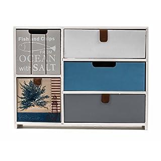 ArtiCasa Mini-Kommode aus MDF, 5 Schubladen, Shabby-Look, Griff-Laschen, weiß, Größe ca. 30 x 23 x 10 cm