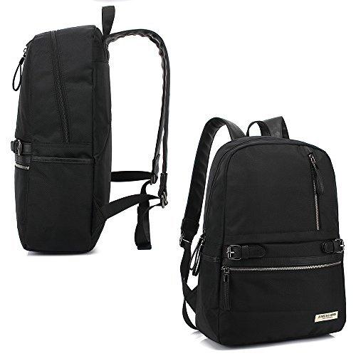 ZUMIT Rucksack Schwarz College Schulrucksack Jugendliche Groß Damen Herren 15,6 zoll Laptop Backpack Lässige Daypack Freizeitrucksack für Mädchen Jungen