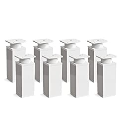 Furniture legs, pack of 8, height adjustable   Angular profile: 40 x 40 mm   Design: White  Sossai® MFV1-WH   Height: 120 mm (+20 mm)   Wood screws included