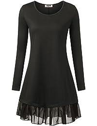 DJT Damen Vintage Langarm Einfarbig Kleider mit Chiffon Saum Schwarz Medium