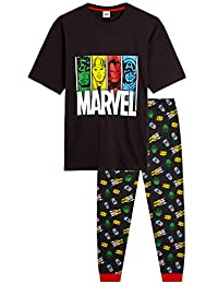Marvel Pijama Hombre, Pijamas Hombre de Superheroes Avengers, con Capitan America Hulk Thor y Iron Man, Pijama Hombre Algodon Camiseta Manga Corta, Regalos Hombre Adolescente
