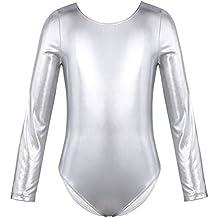YiZYiF Enfant Fille Justaucorps de Danse Ballet Body de Gym Cuir Verni  Costume de Danse Combinaison 310e6cd79cf