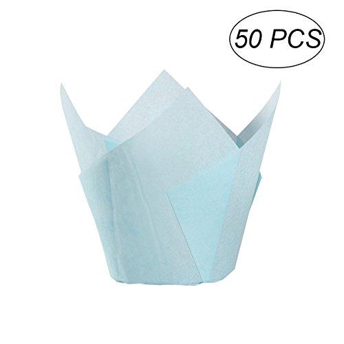 BESTONZON 50 stücke Tulpe Form Cupcake Wrapper Wrap Fall Cupcake Halter Muffin Cups für Hochzeit Geburtstag Party Feier (blau) - Papier Wrap-halter