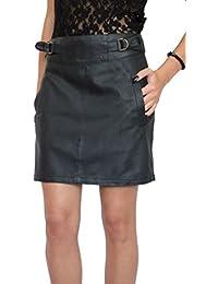Stilvoller Damen lässig Rock Minirock Bleistift knielang Kunstleder Schwarz  Größe EU 36 38 40 42 44 c3eaadec41