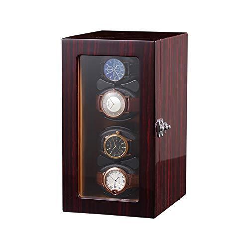 GUOSJ uhrenbeweger 4 Uhren Automatisch mit flexiblem Plüschkissen und japanischem Leisemotor, Uhrenbeweger-Aufbewahrungsbox für Herren- und Damenuhren
