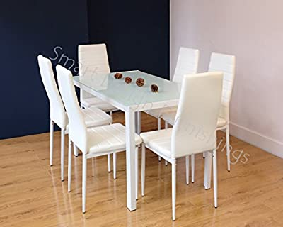 GLASS DINING TABLE SET AND 6 FAUX LEATHER CHAIRS by SMARTDESIGN® - inexpensive UK light store.