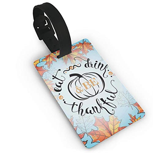 Lovely Travel Secure Luggage Tags for suitcases, Eat Drink and Be Thankful Quote for Thanksgiving with Fall Leaves,Handbag Tag Labels ID (Womens Zip-fall-id)