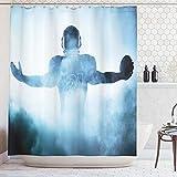 ABAKUHAUS Sport Rideau de Douche, Joueur de Rugby en Forme Héroïque Silhouette Ombre Debout dans Le Brouillard Aire de Jeu, Moderne, Impression numérique, 175 x 200 cm, Bleu
