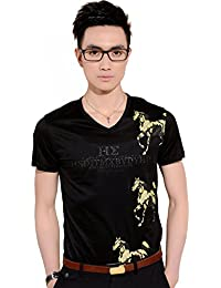 SSLR Men's Summer Casual V Neck Short Sleeve T-Shirt