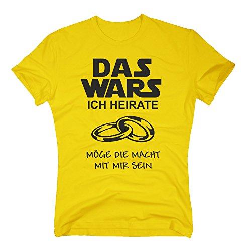 Das Wars Shirt Herren - Ich heirate - Junggesellenabschied Bräutigam JGA - von Shirt Department, gelb-schwarz, S