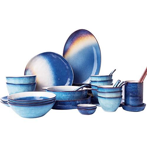 Céramique de vaisselle en céramique étoilée ronde, ensemble coréen plat de vaisselle de bol nordique créatif à la maison pour le four à micro-ondes, (Color : 30, Size : PIECE SET)