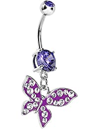 Violet Paved Flyaway Butterfly Belly Ring