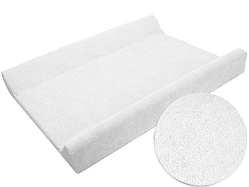 Sábana ajustable / funda para cambiador de bebé 70 x 50 cm con bordes elevados - blanco