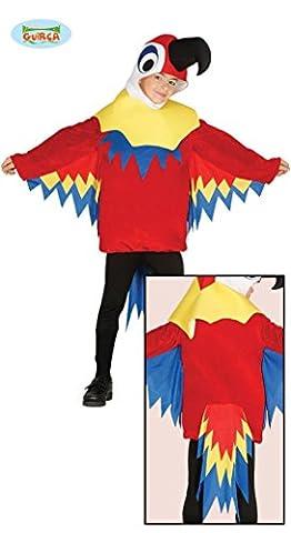 bunter Papagei Karneval Fasching Motto Party Vogel Kostüm für Kinder Gr. 110-146, Größe:140/146 (Kind Blau-ara-kostüm)