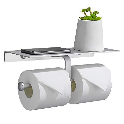 Gricol Doppelrolle Toilettenpapierhalter Raum Aluminium Wand Bad Stofflager mit Handyhalter Regal Unterstützung Fach für Küche Bad Silber