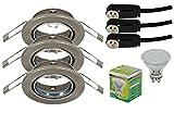 Trango® TG6729-0XXB Faretti da incasso a LED effetto acciaio inox, con lampadina SMD LED GU10,3,0W di potenza, faretti da soffitto orientabili, 230V Set da 3