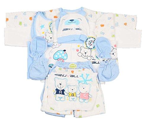 Jinyouju Lot de 18vêtements pour nouveau-né, coffret cadeau, de 0à 6mois -  Bleu -