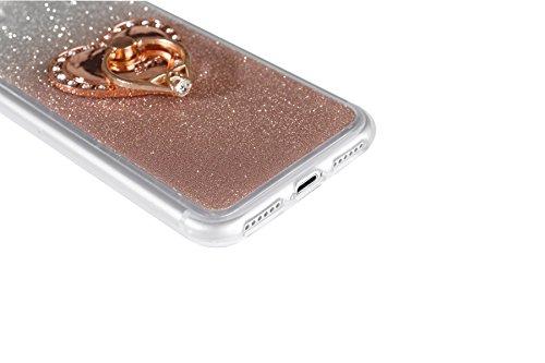 """iPhone 7 Handyhülle, Bling Glitzer Funkeln CLTPY iPhone 7 Durchsichtig Dünne Matte Gel Cover Schlanke Hybrid Stoßdämpfende & Kratzfeste Gummi Case mit Kippständer für 4.7"""" Apple iPhone 7 + 1 x Schreib Rose Gold with Ring"""