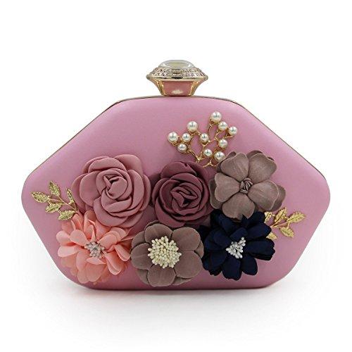 STRAWBERRYER Verreries De Verre Fleurs Brodées Multicolore Perles Diamants Épaule Diagonal Croix Bag Femme Mariage Party Noble Envelope Clutch pink