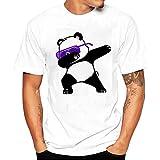 -Camiseta para hombre ronamick Mode Hombres Impresión tees Camiseta Panda manga corta camiseta de algodón Casual Blusa Cuello Redondo, Weiß, extra-large