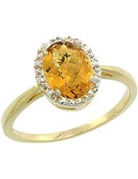 Revoni Coup d'Eclat - Bague Femme en Or jaune 375/1000 (9 carats) - Diamants en Halo et Quartz wisky oval - Tailles 49 à 62