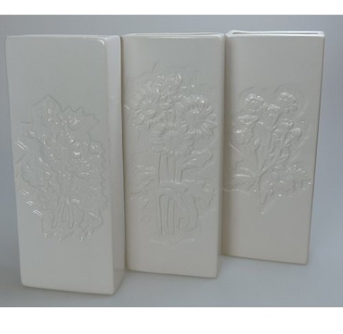 3 weiße Keramik Wasser - Verdunster Luftbefeuchter für Heizung / Flachheizkörper mit Blumenmotiv (Motiv je nach Verfügbarkeit)