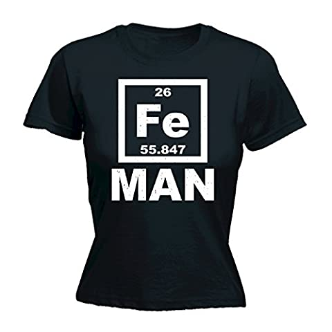LADIES IRON MAN FE PERIODIC ELEMENTS TABLE (S - BLACK) NEW PREMIUM FITTED T-SHIRT - slogan funny clothing t shirt joke novelty vintage retro top ladies women's girl women tshirt tees tee t-shirts shirts fashion urban cool geek cooper nerd big science team bang theory sheldon penny rock paper scissors day mum mummy mother sister birthday ideas gifts Christmas presents gifts S M L XL 2XL - by
