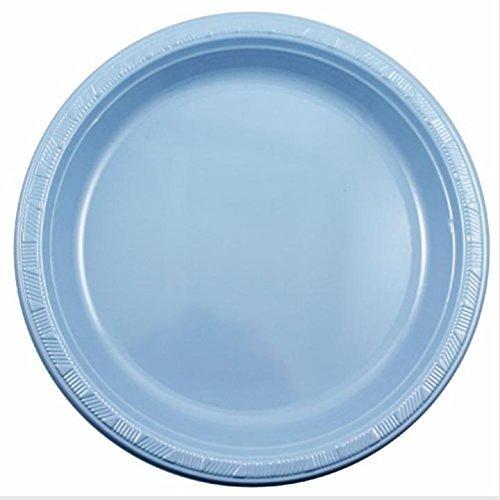 Exquisite 7 Inch. Light Blue Plastic Dessert/Salad Plates - Solid Color Disposable Plates - 100 Count by Exquisite Light Blue Dessert
