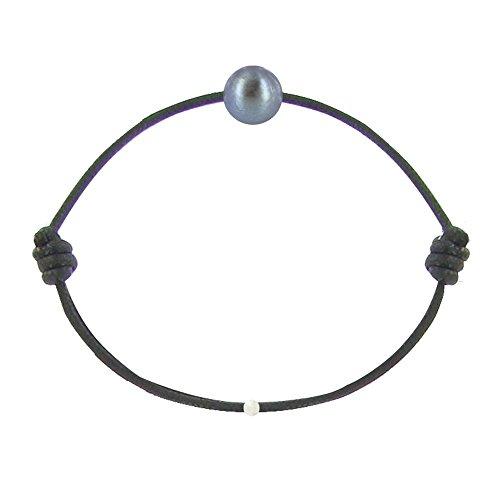 Schmuck Les Poulettes - Dark Grey Zuchtperlen Armband 8-9 mm - Meine Perle - mit Wachs Cords - Classics - Schwarz