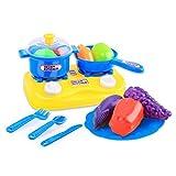 OVERMAL 15pcs Plastic Kids Children Kitchen Utensils Food Cooking Pretend Play Set Toy