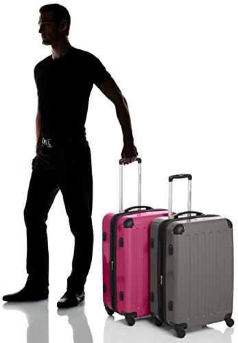 HAUPTSTADTKOFFER - Alex - 2er Koffer-Set Hartschale glänzend, TSA, 65 cm, 74 Liter, Aubergine-Silber Graphit-Magenta