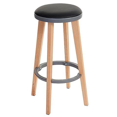 2x tabouret de bar Douglas, chaise de bar/comptoir, bois, similicuir 70x43x43cm ~ noir/gris