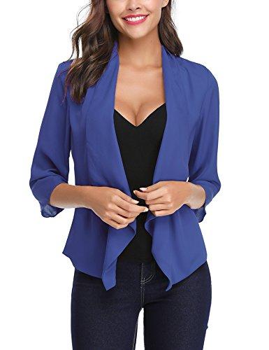 Abollria cardigan donna corto estivo coprispalle elegante con maniche 3/4 lunghezza cardigan leggero per primavera estate autunno (m(it 44), blu elegante)