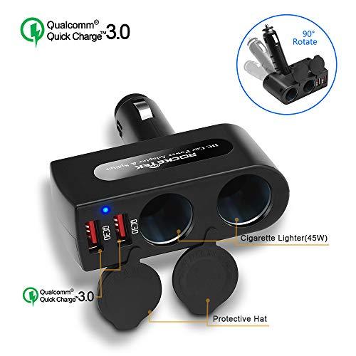 Quick Charge 3.0 Cargador de Coche USB, Rocketek 12V/24V 2-Enchufe Adaptador de...