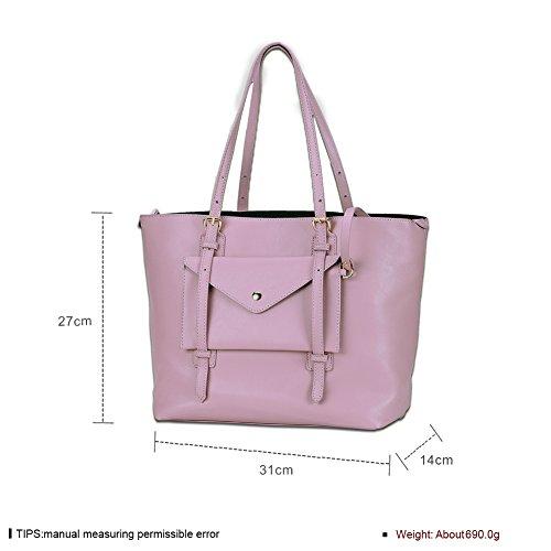 Due Signore moda colore solido Tote (colori assortiti)-rosa rosa