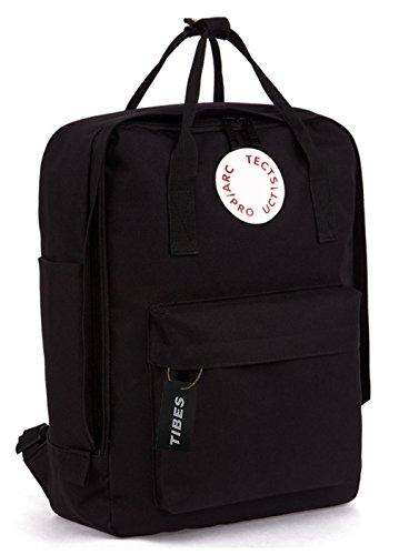 Tibes Moda Backpack Laptop Schoolbag Zaino Per Scuola Zanio Porta Pc Donna Uomo Nero
