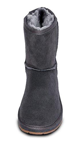 Damen Fell Boots Lammfell Stiefel, Fellstiefel, Fellboots, camel, grau (41, anthrazit)