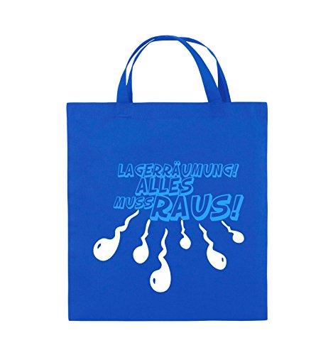 Comedy Bags - Lagerräumung alles muss raus! - Jutebeutel - kurze Henkel - 38x42cm - Farbe: Schwarz / Weiss-Neongrün Royalblau / Weiss-Hellblau
